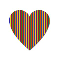 Vertical Gay Pride Rainbow Flag Pin Stripes Heart Magnet by PodArtist