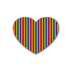 Vertical Gay Pride Rainbow Flag Pin Stripes Rubber Coaster (heart)  by PodArtist