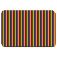 Vertical Gay Pride Rainbow Flag Pin Stripes Large Doormat  by PodArtist