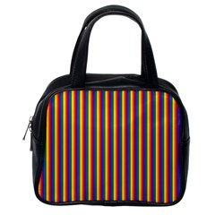 Vertical Gay Pride Rainbow Flag Pin Stripes Classic Handbags (one Side) by PodArtist