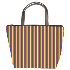 Vertical Gay Pride Rainbow Flag Pin Stripes Bucket Bags by PodArtist