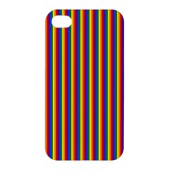 Vertical Gay Pride Rainbow Flag Pin Stripes Apple Iphone 4/4s Hardshell Case by PodArtist