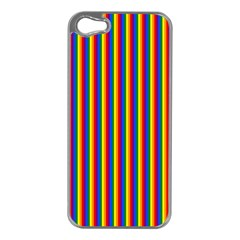 Vertical Gay Pride Rainbow Flag Pin Stripes Apple Iphone 5 Case (silver) by PodArtist