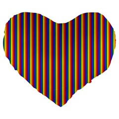 Vertical Gay Pride Rainbow Flag Pin Stripes Large 19  Premium Heart Shape Cushions by PodArtist