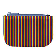 Vertical Gay Pride Rainbow Flag Pin Stripes Large Coin Purse by PodArtist