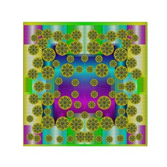 Celtic Mosaic With Wonderful Flowers Small Satin Scarf (square) by pepitasart