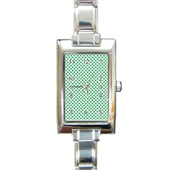 Green Shamrock Clover On White St  Patrick s Day Rectangle Italian Charm Watch by PodArtist