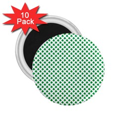 Green Shamrock Clover On White St  Patrick s Day 2 25  Magnets (10 Pack)  by PodArtist