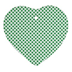 Green Shamrock Clover On White St  Patrick s Day Heart Ornament (two Sides) by PodArtist