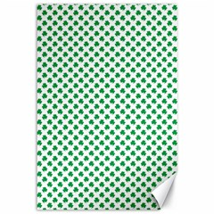 Green Shamrock Clover On White St  Patrick s Day Canvas 12  X 18   by PodArtist