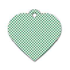 Green Shamrock Clover On White St  Patrick s Day Dog Tag Heart (two Sides) by PodArtist