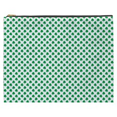 Green Shamrock Clover On White St  Patrick s Day Cosmetic Bag (xxxl)  by PodArtist