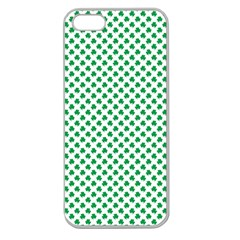 Green Shamrock Clover On White St  Patrick s Day Apple Seamless Iphone 5 Case (clear) by PodArtist