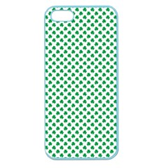 Green Shamrock Clover On White St  Patrick s Day Apple Seamless Iphone 5 Case (color)
