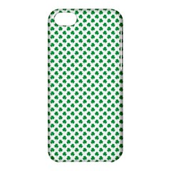 Green Shamrock Clover On White St  Patrick s Day Apple Iphone 5c Hardshell Case by PodArtist