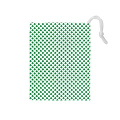 Green Shamrock Clover On White St  Patrick s Day Drawstring Pouches (medium)  by PodArtist