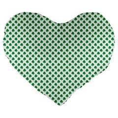 Green Shamrock Clover On White St  Patrick s Day Large 19  Premium Flano Heart Shape Cushions by PodArtist