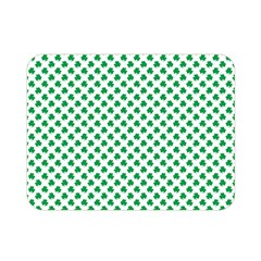 Green Shamrock Clover On White St  Patrick s Day Double Sided Flano Blanket (mini)  by PodArtist