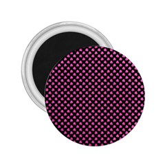 Small Hot Pink Irish Shamrock Clover On Black 2 25  Magnets by PodArtist