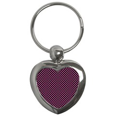 Small Hot Pink Irish Shamrock Clover On Black Key Chains (heart)  by PodArtist