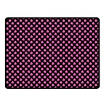 Small Hot Pink Irish Shamrock Clover on Black Fleece Blanket (Small) 50 x40  Blanket Front