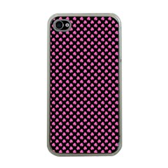 Small Hot Pink Irish Shamrock Clover On Black Apple Iphone 4 Case (clear) by PodArtist