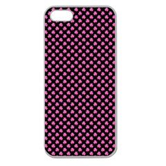 Small Hot Pink Irish Shamrock Clover On Black Apple Seamless Iphone 5 Case (clear) by PodArtist