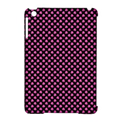 Small Hot Pink Irish Shamrock Clover On Black Apple Ipad Mini Hardshell Case (compatible With Smart Cover) by PodArtist
