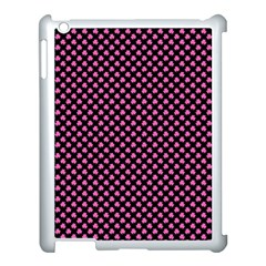 Small Hot Pink Irish Shamrock Clover On Black Apple Ipad 3/4 Case (white) by PodArtist