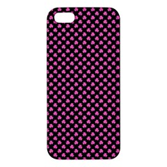 Small Hot Pink Irish Shamrock Clover On Black Apple Iphone 5 Premium Hardshell Case by PodArtist