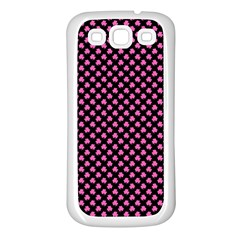 Small Hot Pink Irish Shamrock Clover On Black Samsung Galaxy S3 Back Case (white) by PodArtist