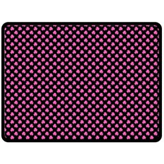 Small Hot Pink Irish Shamrock Clover On Black Double Sided Fleece Blanket (large)  by PodArtist