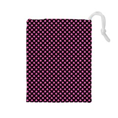 Small Hot Pink Irish Shamrock Clover On Black Drawstring Pouches (large)  by PodArtist