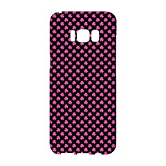 Small Hot Pink Irish Shamrock Clover On Black Samsung Galaxy S8 Hardshell Case  by PodArtist