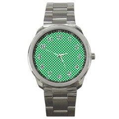 White Shamrocks On Green St  Patrick s Day Ireland Sport Metal Watch by PodArtist