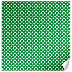 White Shamrocks On Green St  Patrick s Day Ireland Canvas 20  X 20   by PodArtist