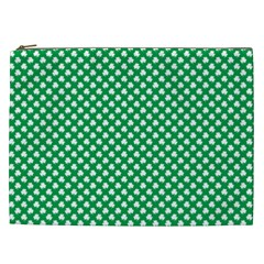 White Shamrocks On Green St  Patrick s Day Ireland Cosmetic Bag (xxl)  by PodArtist