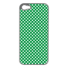 White Shamrocks On Green St  Patrick s Day Ireland Apple Iphone 5 Case (silver) by PodArtist