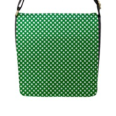 White Shamrocks On Green St  Patrick s Day Ireland Flap Messenger Bag (l)  by PodArtist