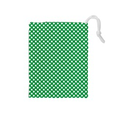 White Shamrocks On Green St  Patrick s Day Ireland Drawstring Pouches (medium)  by PodArtist