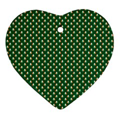 Irish Flag Green White Orange On Green St  Patrick s Day Ireland Heart Ornament (two Sides) by PodArtist