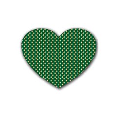 Irish Flag Green White Orange On Green St  Patrick s Day Ireland Heart Coaster (4 Pack)  by PodArtist