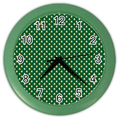 Irish Flag Green White Orange On Green St  Patrick s Day Ireland Color Wall Clocks by PodArtist