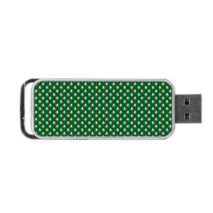 Irish Flag Green White Orange on Green St. Patrick s Day Ireland Portable USB Flash (One Side)