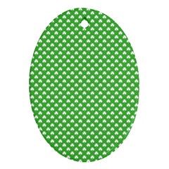 White Heart Shaped Clover On Green St  Patrick s Day Ornament (oval) by PodArtist