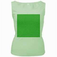 White Heart-shaped Clover On Green St  Patrick s Day Women s Green Tank Top by PodArtist