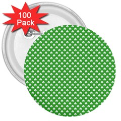 White Heart Shaped Clover On Green St  Patrick s Day 3  Buttons (100 Pack)  by PodArtist