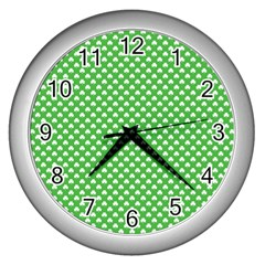 White Heart Shaped Clover On Green St  Patrick s Day Wall Clocks (silver)  by PodArtist