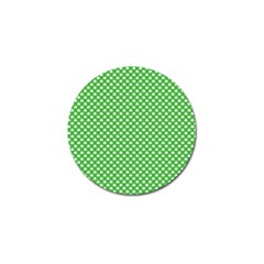 White Heart Shaped Clover On Green St  Patrick s Day Golf Ball Marker by PodArtist