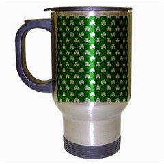 White Heart Shaped Clover On Green St  Patrick s Day Travel Mug (silver Gray) by PodArtist